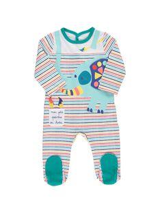 Baby boys' cotton sleepsuit CEGUGRELEF / 18SH1452GRE000