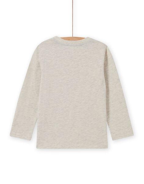 Boy's beige t-shirt with bear motif MOSAUTEE5 / 21W902P5TMLA013