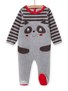 Baby boy grey romper with panda pattern MEGAGREPAN / 21WH1483GREJ918