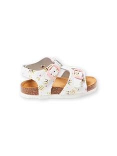 baby girl white sandals with pineapple print buckles LBFNUANAS / 21KK3751D0E000