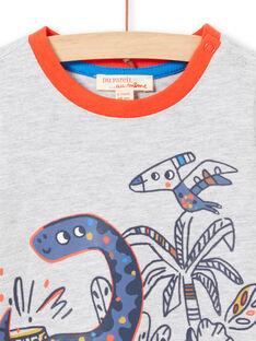 Baby boy's grey t-shirt with long sleeves and dinosaur print MUPATEE3 / 21WG10H2TML943
