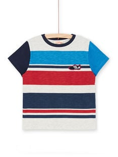 Grey and blue striped t-shirt for children and boys LOHATI2 / 21S902X1TMCJ920