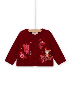 Baby girl's red long sleeve embroidered cardigan MIFUNCAR / 21WG09M1CAR504