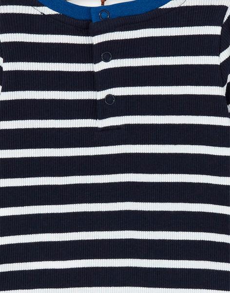 Dark blue and white striped cotton t-shirt baby boy LUJOTEE4 / 21SG1032TML713