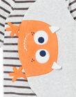 Baby boy's sleep suit with small monster motif LEFUGREMON / 21SH1411GREJ920