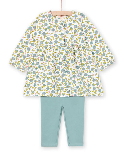 Baby Girl's Ecru and Water Green Floral Print Dress and Leggings Set MIKAENS / 21WG09I1ENS001