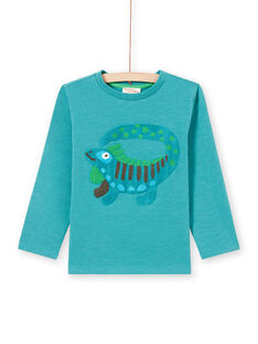 Turquoise blue t-shirt child boy fantasy animation MOTUTEE5 / 21W902K2TMLC239