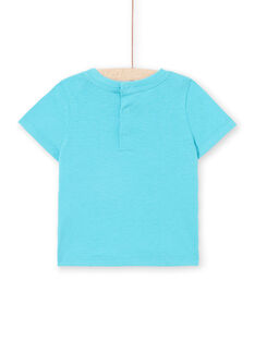 T-shirt short sleeves turquoise blue baby boy LUBONTI1 / 21SG10W3TMC202