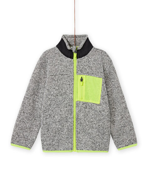 Boy's grey mottled cardigan with neon yellow and black panels MOJOGITEK2 / 21W90214GILJ922