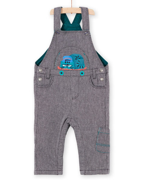 Baby boy's ink blue striped overalls with cat motif MUTUSAL1 / 21WG10K2SALC234