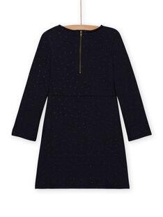 Girl's navy blue fleece skater dress MAJOLROB1 / 21W901N3ROB070