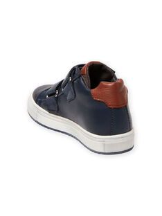 Navy blue high top sneakers with colorful details child boy MOBASNEWMAR / 21XK3671D3F070