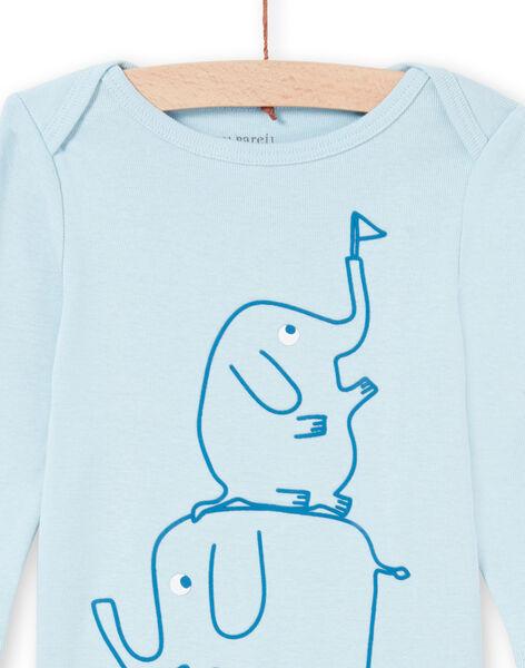 Baby boy's blue elephant print long sleeve bodysuit MEGABODELE / 21WH14B2BDL222