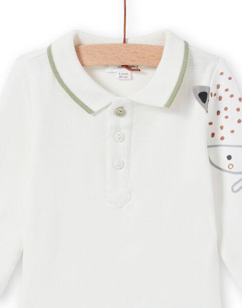Long sleeved bodysuit ecru with fox pattern birth boy MOU1BOD5 / 21WF0441BOD001