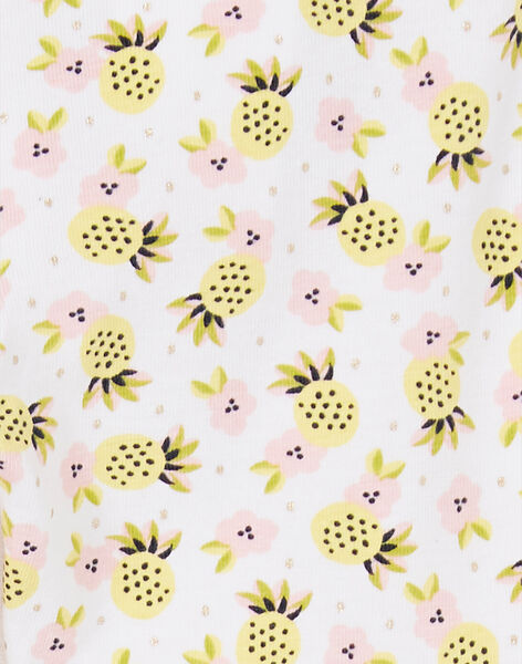 Leggings white, yellow and pink baby girl LYIBALEG / 21SI09O1CAL000