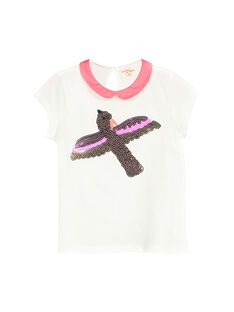 Girls' T-shirt with a Peter Pan collar FAPOBRAS / 19S901C1BRA001