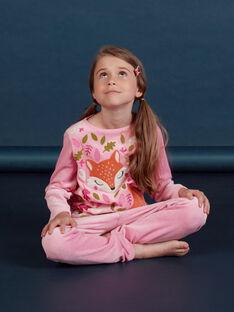 Pink velvet pyjama with fox pattern child girl MEFAPYJCLA / 21WH1196PYJ313