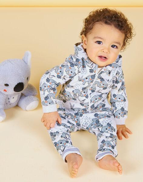 Grey and ecru hoodie with baby boy koala print LUPOEGIL / 21SG10Y1GILA011