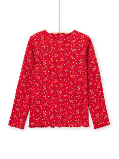 Girl's red floral ribbed T-shirt, long sleeve MAJOUTEE5 / 21W90126TML511