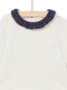 Baby girl beige and navy blue T-shirt MIJOBRA4 / 21WG0912BRAA011