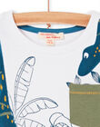 White and blue T-shirt with foliage print for children and boys LOVERTI3 / 21S902Q4TMC000