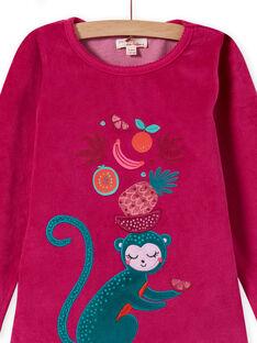 Baby girl's tropical printed velvet pajama set T-shirt and pants MEFAPYJMON / 21WH1183PYJD312