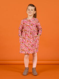 Old pink dress with fancy flowery print child girl MASAUROB1 / 21W901P2ROB303