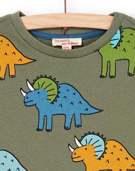 T-shirt khaki and blue dinosaur print child boy LOVERTI4 / 21S902Q2TMCG631