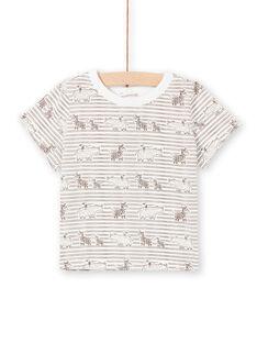 Baby boy's brown and ecru striped t-shirt LUTERTI3 / 21SG10V3TMC001