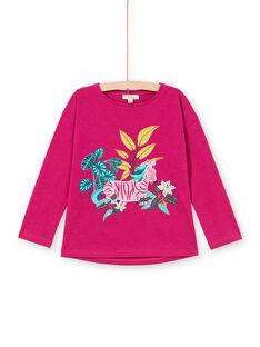 Baby girl fuchsia zebra print long sleeve t-shirt MATUTEE1 / 21W901K3TMLD312