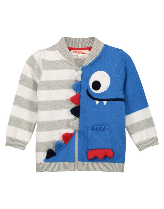 Boys' fancy zipped cardigan FOTOGIL / 19S902L1GILF505