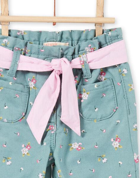 Baby girl light blue floral print pants MIKAPAN / 21WG09I1PAN612