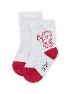 Baby boy's red and grey dinosaur socks MYUJOCHOU1 / 21WI101ASOQ943