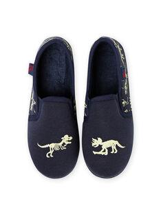 Blue night slippers with phosphorescent dinosaurs design for boy MOPANTDINO / 21XK3632D0B070