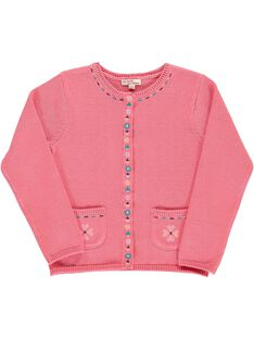 Girls' cotton knit cardigan CAHOCAR2 / 18S901E2CAR404