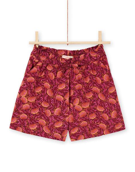 Girl's burgundy and orange shorts with foliage print LATERSHORT3 / 21S901V2SHO719