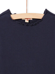 Girl's blue ribbed t-shirt, long sleeves MAJOUTEE2 / 21W90122TMLC205