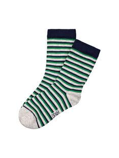 Boys' striped mid length socks FYOJOCHO4A / 19SI0237SOQJ906