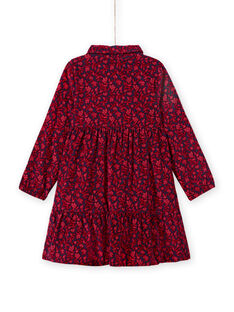 Child girl blue shirt collar dress with floral print MAFUNROB3 / 21W901M2ROBH703