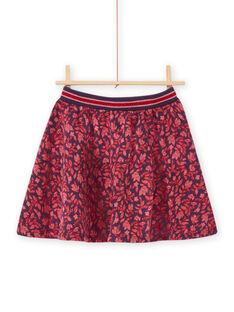 Child girl blue skirt with flowery print MAFUNJUP3 / 21W901M2JUPH703
