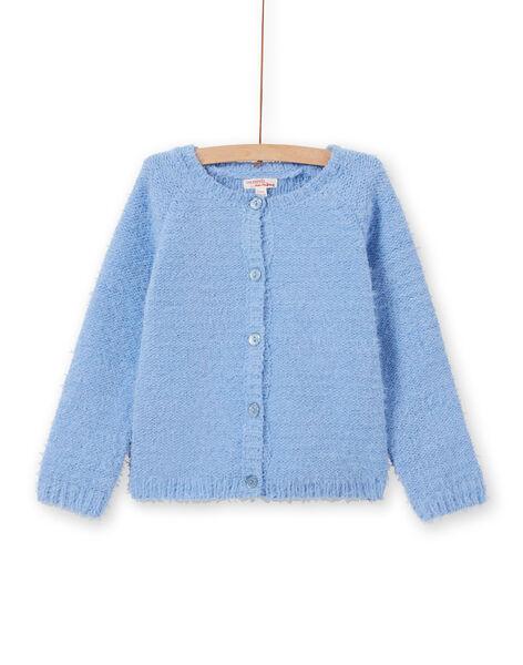Girl's light blue chenille cardigan MAYJOCAR3 / 21W90119CAR706