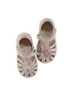 Baby girls' smart leather sandals FBFSANDPIX1 / 19SK37C4D0E030