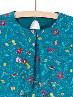Girl's long-sleeved blue duck T-shirt with flower print MATUTEE4 / 21W901K2TML714