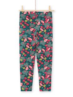 Girl's green and pink flower print legging MYAKALEG2 / 21WI01I2CALG604