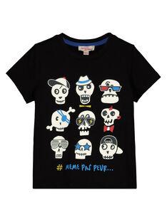 Boys' black skull print T-shirt GOBLETI / 19W90291TMC090