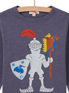 Boy's grey knight T-shirt MOPLATEE4 / 21W902O3TMLJ902
