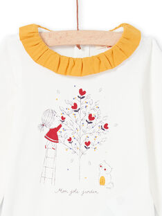 Baby Girl Ecru and Mustard Bodysuit MIMIXBOD1 / 21WG09J2BOD001