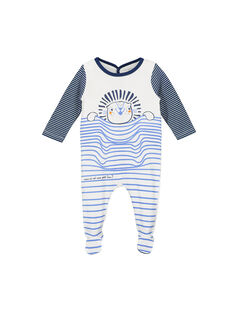 Baby boys' velour sleepsuit FEGAGRELIO / 19SH1494GRE000