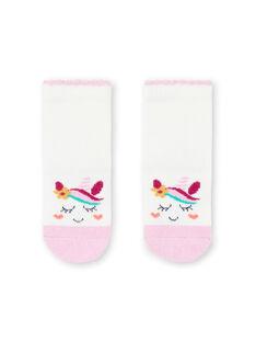 Baby girl's unicorn socks in ecru and pink MYITUSOQ / 21WI09K1SOQ001