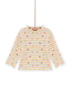 Baby Girl Ribbed Stripe and Floral Print Undershirt MISAUSOUP / 21WG09P1SPL001
